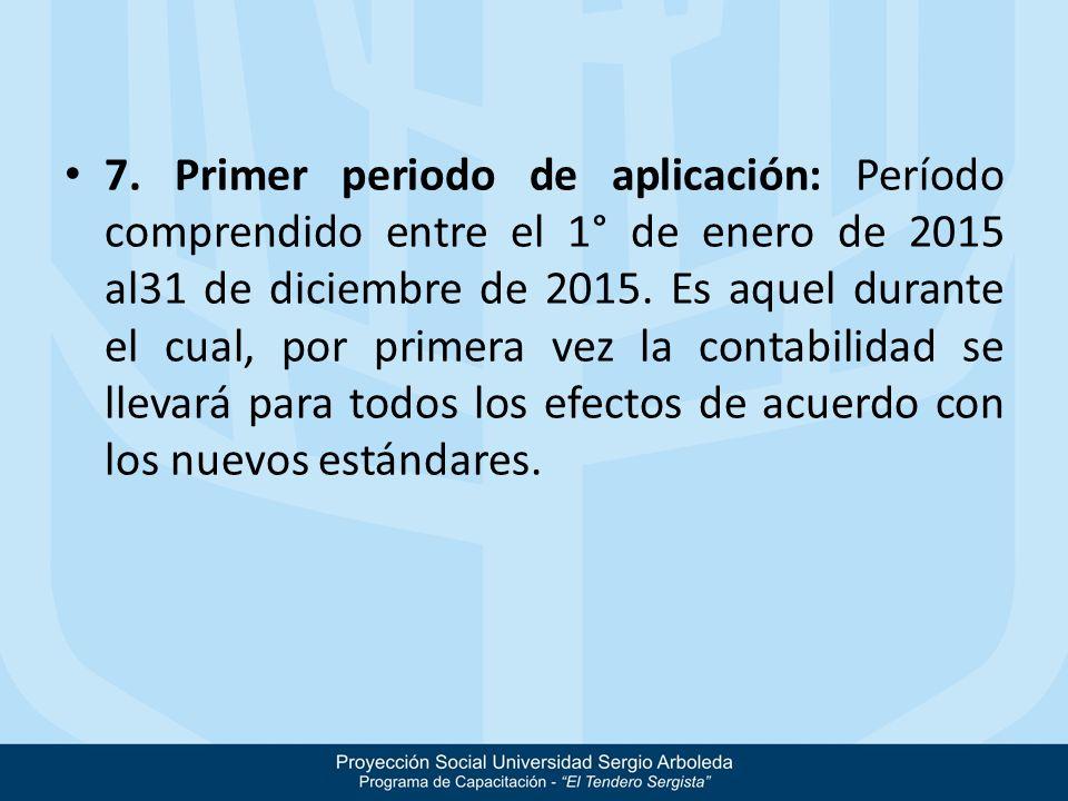 7. Primer periodo de aplicación: Período comprendido entre el 1° de enero de 2015 al31 de diciembre de 2015. Es aquel durante el cual, por primera vez