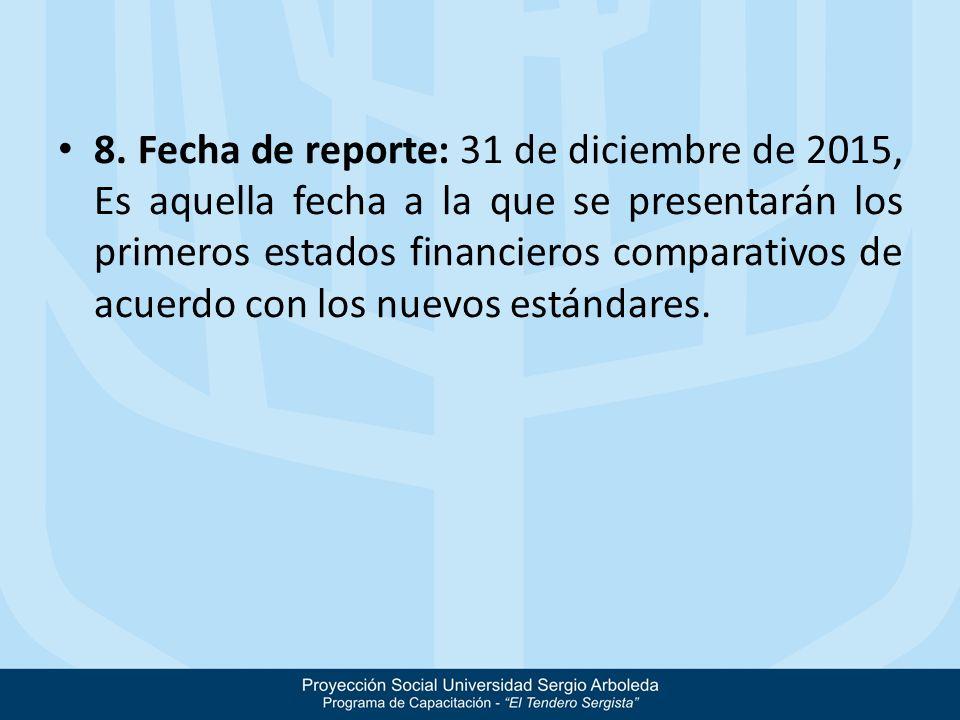 8. Fecha de reporte: 31 de diciembre de 2015, Es aquella fecha a la que se presentarán los primeros estados financieros comparativos de acuerdo con lo