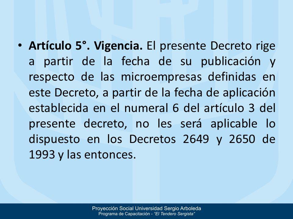Artículo 5°. Vigencia. El presente Decreto rige a partir de la fecha de su publicación y respecto de las microempresas definidas en este Decreto, a pa