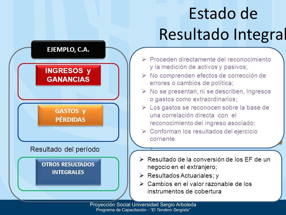 Estado de Resultado Integral EJEMPLO, C.A. INGRESOS y GANANCIAS GASTOS y PÉRDIDAS OTROS RESULTADOS INTEGRALES Beneficios Económicos Ingresos y gastos