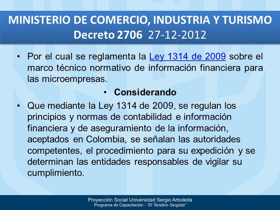 Por el cual se reglamenta la Ley 1314 de 2009 sobre el marco técnico normativo de información financiera para las microempresas.Ley 1314 de 2009 Consi