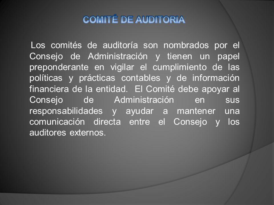 Los comités de auditoría son nombrados por el Consejo de Administración y tienen un papel preponderante en vigilar el cumplimiento de las políticas y prácticas contables y de información financiera de la entidad.