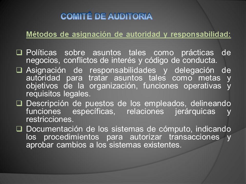 Métodos de asignación de autoridad y responsabilidad: Políticas sobre asuntos tales como prácticas de negocios, conflictos de interés y código de conducta.