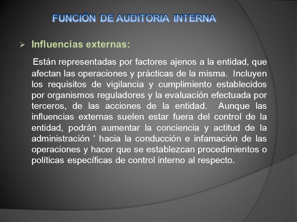 Influencias externas: Están representadas por factores ajenos a la entidad, que afectan las operaciones y prácticas de la misma.