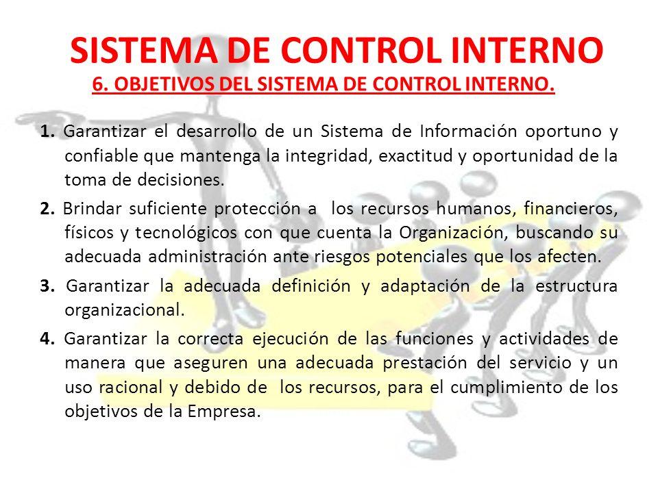 SISTEMA DE CONTROL INTERNO 1. Garantizar el desarrollo de un Sistema de Información oportuno y confiable que mantenga la integridad, exactitud y oport