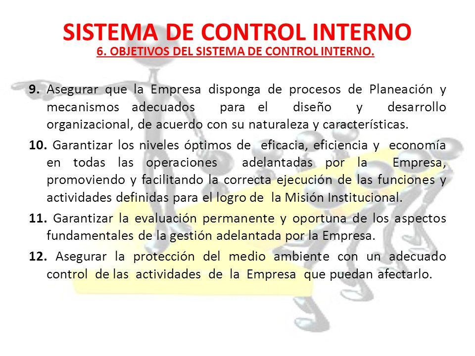 SISTEMA DE CONTROL INTERNO 9. Asegurar que la Empresa disponga de procesos de Planeación y mecanismos adecuados para el diseño y desarrollo organizaci
