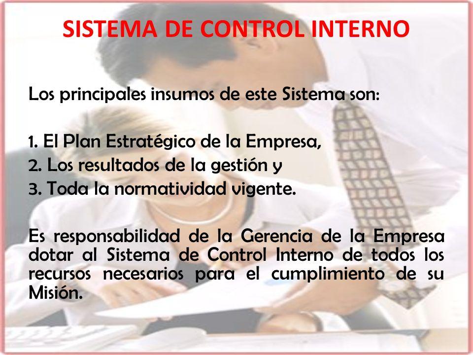 Los principales insumos de este Sistema son: 1. El Plan Estratégico de la Empresa, 2. Los resultados de la gestión y 3. Toda la normatividad vigente.