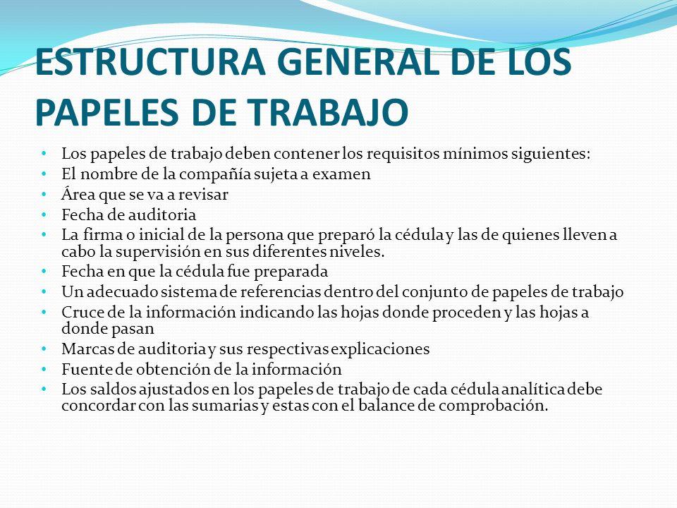 ESTRUCTURA GENERAL DE LOS PAPELES DE TRABAJO Los papeles de trabajo deben contener los requisitos mínimos siguientes: El nombre de la compañía sujeta