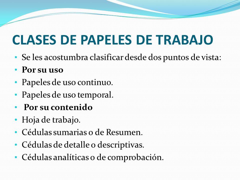 CLASES DE PAPELES DE TRABAJO Se les acostumbra clasificar desde dos puntos de vista: Por su uso Papeles de uso continuo. Papeles de uso temporal. Por