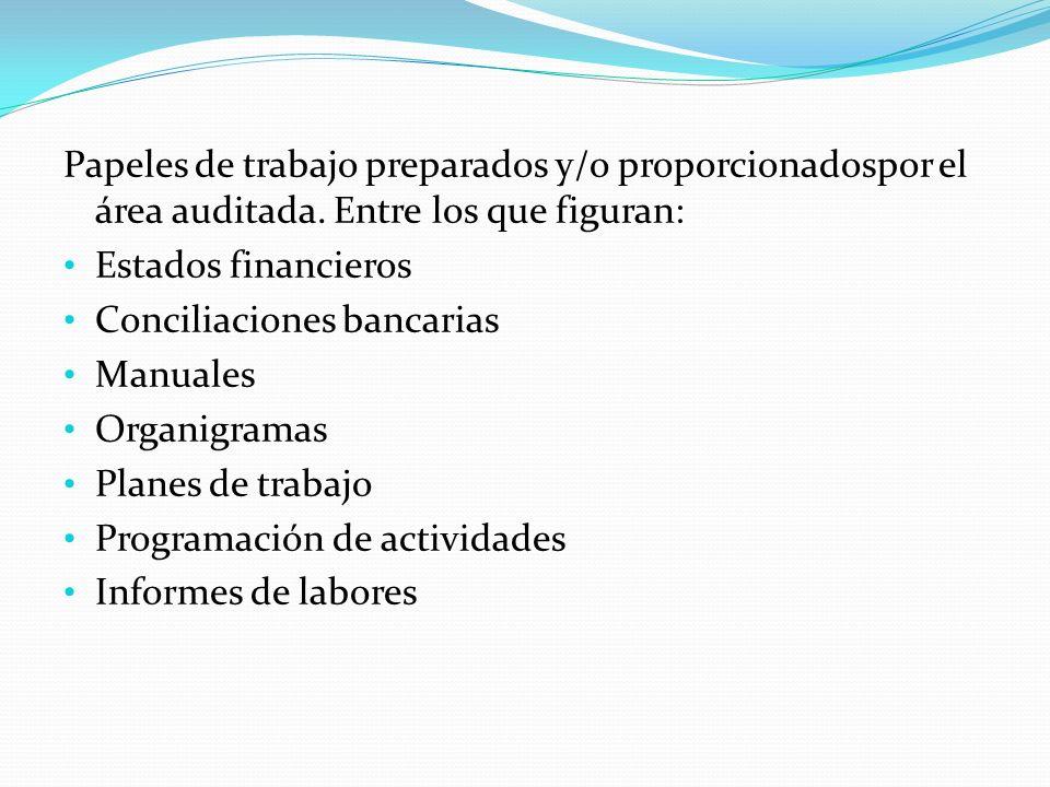 Papeles de trabajo preparados y/o proporcionadospor el área auditada. Entre los que figuran: Estados financieros Conciliaciones bancarias Manuales Org