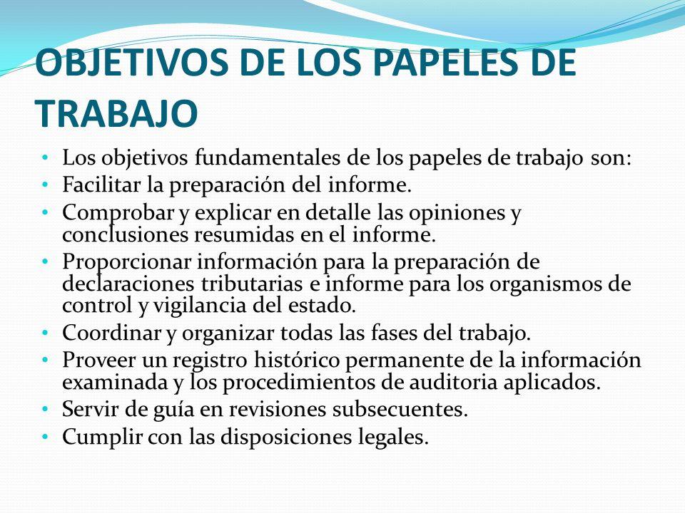 OBJETIVOS DE LOS PAPELES DE TRABAJO Los objetivos fundamentales de los papeles de trabajo son: Facilitar la preparación del informe. Comprobar y expli