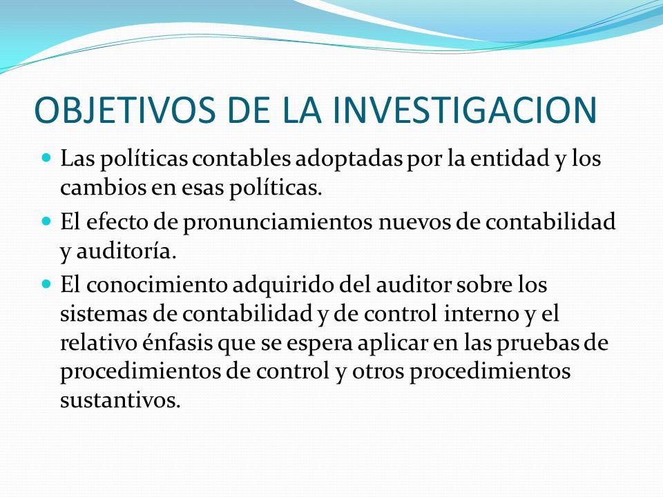 OBJETIVOS DE LA INVESTIGACION Las políticas contables adoptadas por la entidad y los cambios en esas políticas. El efecto de pronunciamientos nuevos d