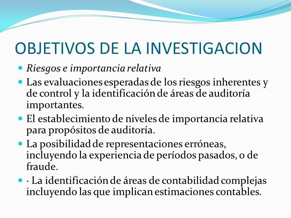 OBJETIVOS DE LA INVESTIGACION Riesgos e importancia relativa Las evaluaciones esperadas de los riesgos inherentes y de control y la identificación de