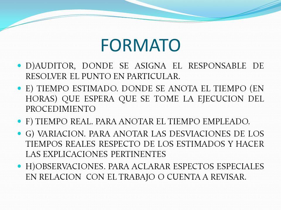 FORMATO D)AUDITOR, DONDE SE ASIGNA EL RESPONSABLE DE RESOLVER EL PUNTO EN PARTICULAR. E) TIEMPO ESTIMADO. DONDE SE ANOTA EL TIEMPO (EN HORAS) QUE ESPE