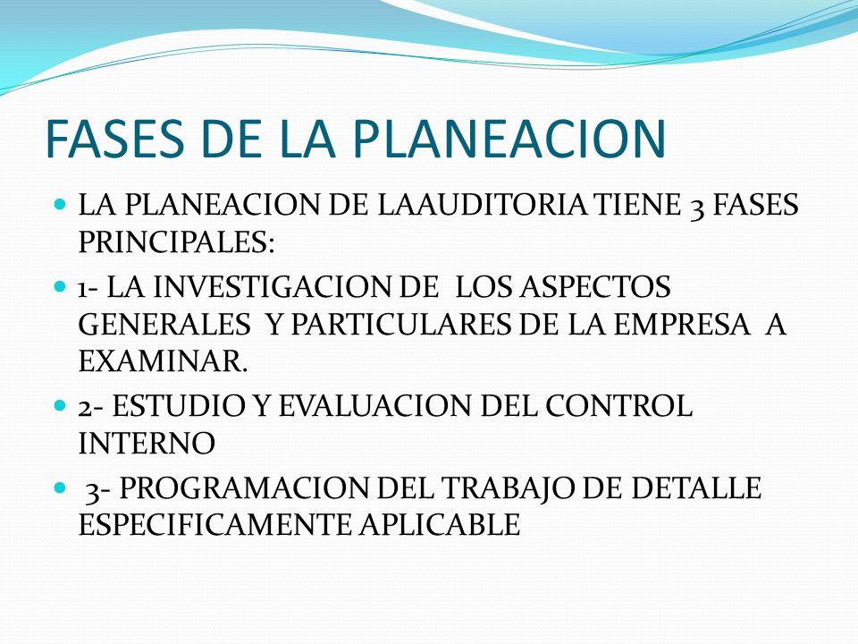 FASES DE LA PLANEACION LA PLANEACION DE LAAUDITORIA TIENE 3 FASES PRINCIPALES: 1- LA INVESTIGACION DE LOS ASPECTOS GENERALES Y PARTICULARES DE LA EMPR