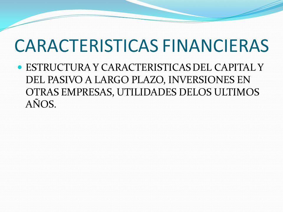 CARACTERISTICAS FINANCIERAS ESTRUCTURA Y CARACTERISTICAS DEL CAPITAL Y DEL PASIVO A LARGO PLAZO, INVERSIONES EN OTRAS EMPRESAS, UTILIDADES DELOS ULTIM