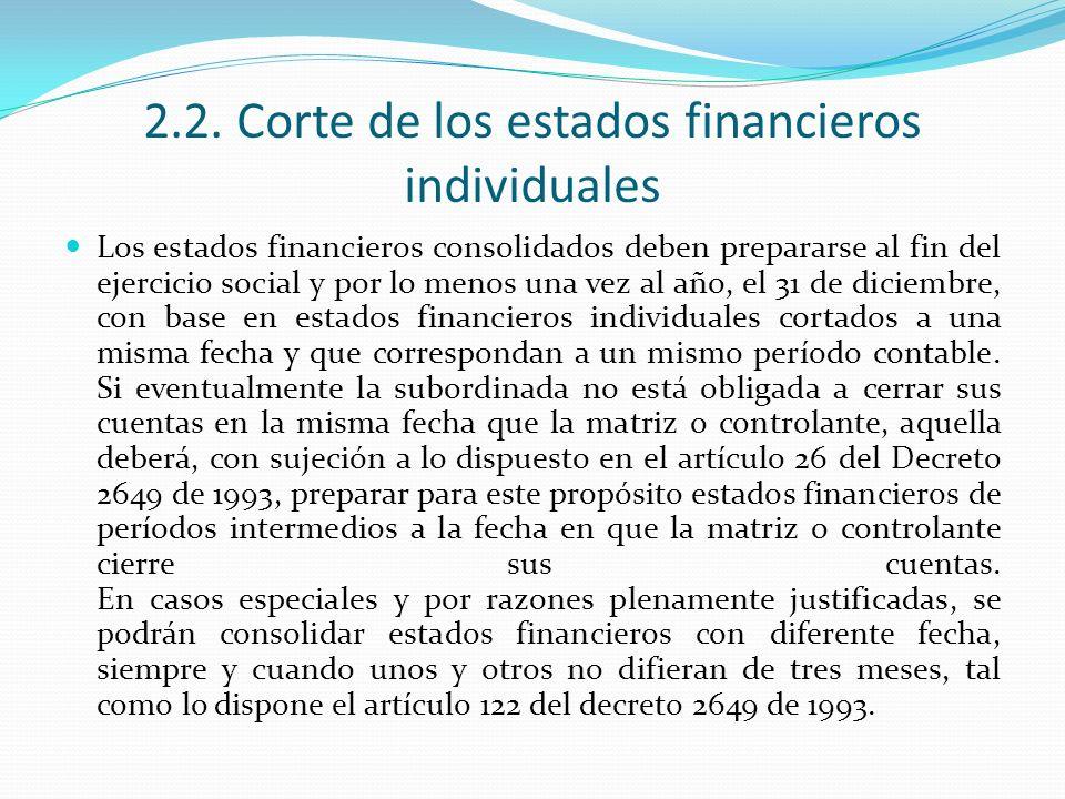 2.2. Corte de los estados financieros individuales Los estados financieros consolidados deben prepararse al fin del ejercicio social y por lo menos un