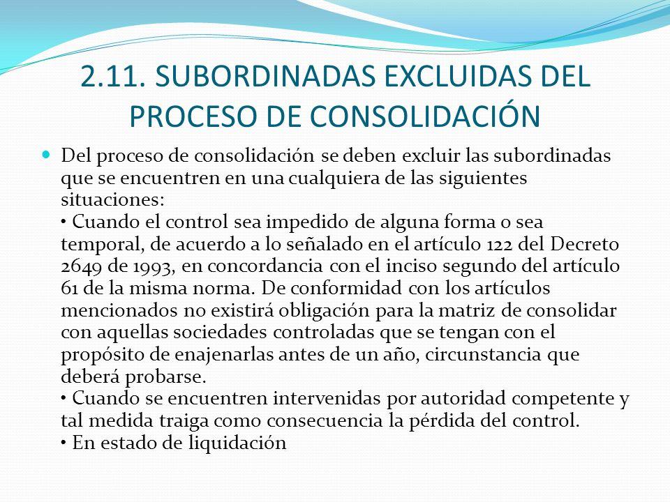 2.11. SUBORDINADAS EXCLUIDAS DEL PROCESO DE CONSOLIDACIÓN Del proceso de consolidación se deben excluir las subordinadas que se encuentren en una cual