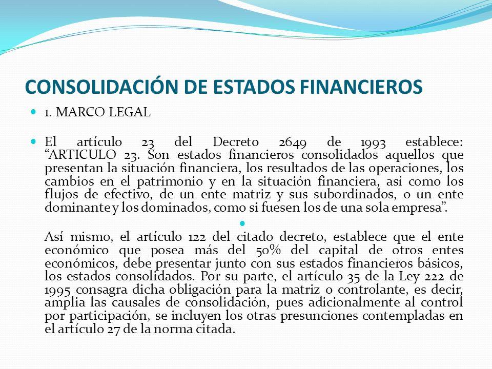 CONSOLIDACIÓN DE ESTADOS FINANCIEROS 1. MARCO LEGAL El artículo 23 del Decreto 2649 de 1993 establece: ARTICULO 23. Son estados financieros consolidad