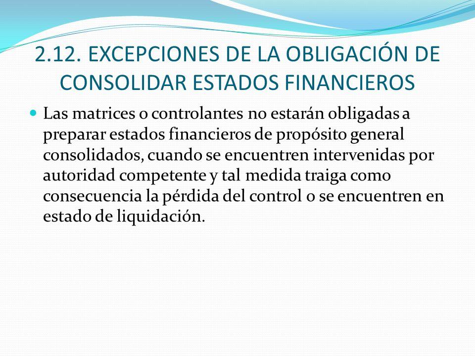 2.12. EXCEPCIONES DE LA OBLIGACIÓN DE CONSOLIDAR ESTADOS FINANCIEROS Las matrices o controlantes no estarán obligadas a preparar estados financieros d
