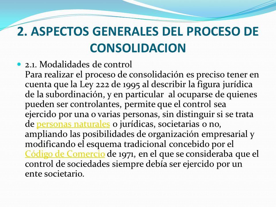 2. ASPECTOS GENERALES DEL PROCESO DE CONSOLIDACION 2.1. Modalidades de control Para realizar el proceso de consolidación es preciso tener en cuenta qu