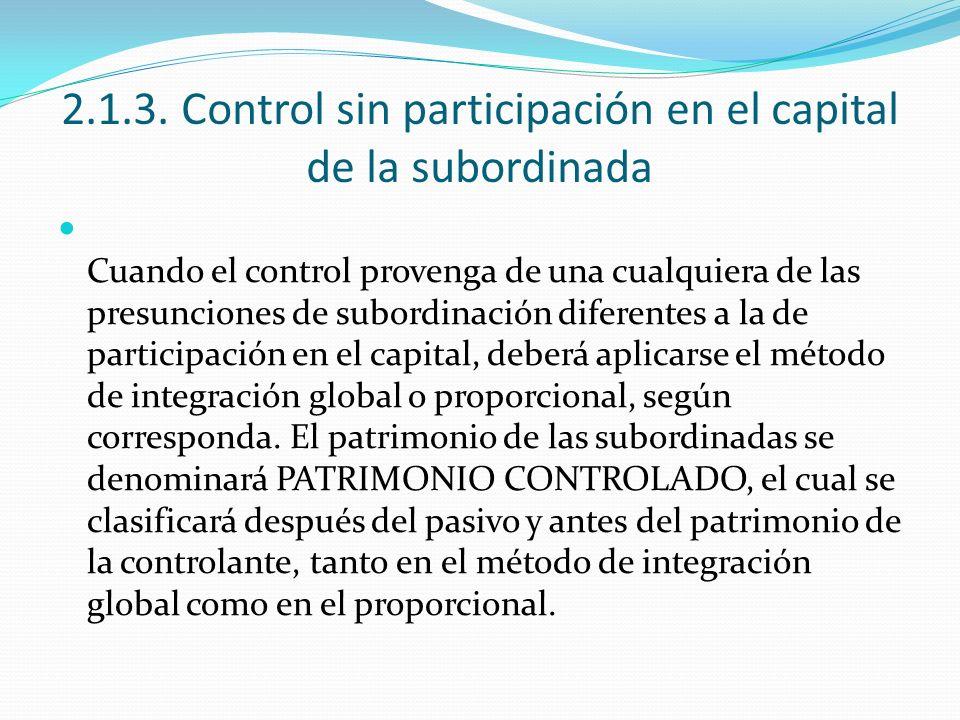 2.1.3. Control sin participación en el capital de la subordinada Cuando el control provenga de una cualquiera de las presunciones de subordinación dif