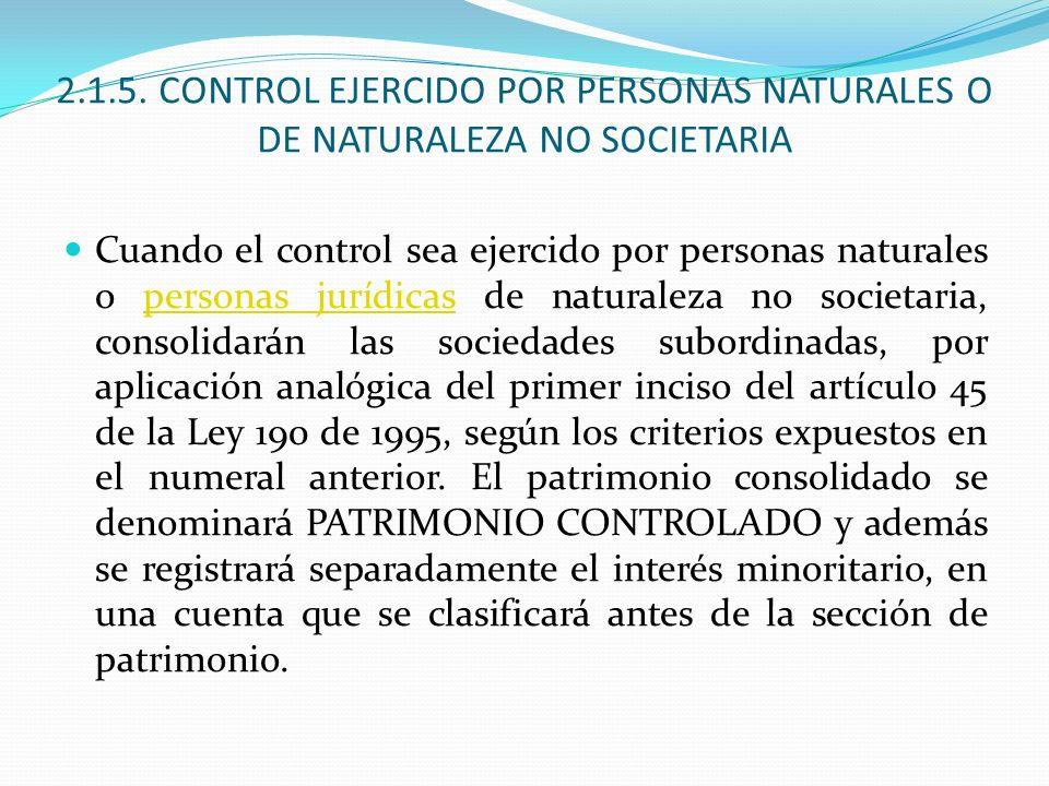 2.1.5. CONTROL EJERCIDO POR PERSONAS NATURALES O DE NATURALEZA NO SOCIETARIA Cuando el control sea ejercido por personas naturales o personas jurídica