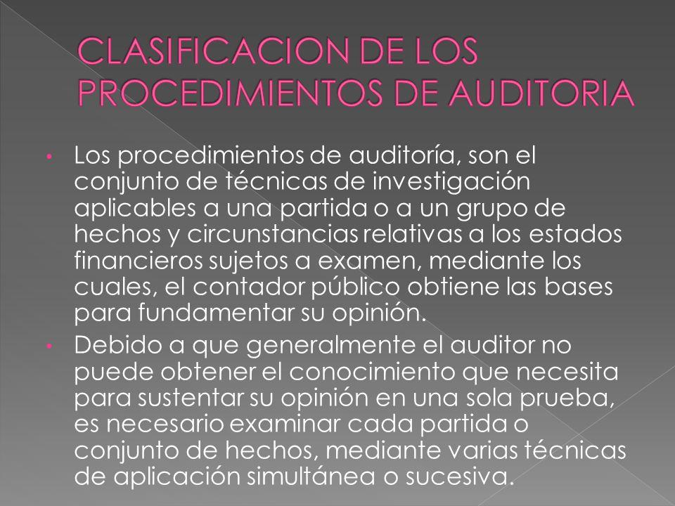Los procedimientos de auditoría, son el conjunto de técnicas de investigación aplicables a una partida o a un grupo de hechos y circunstancias relativ