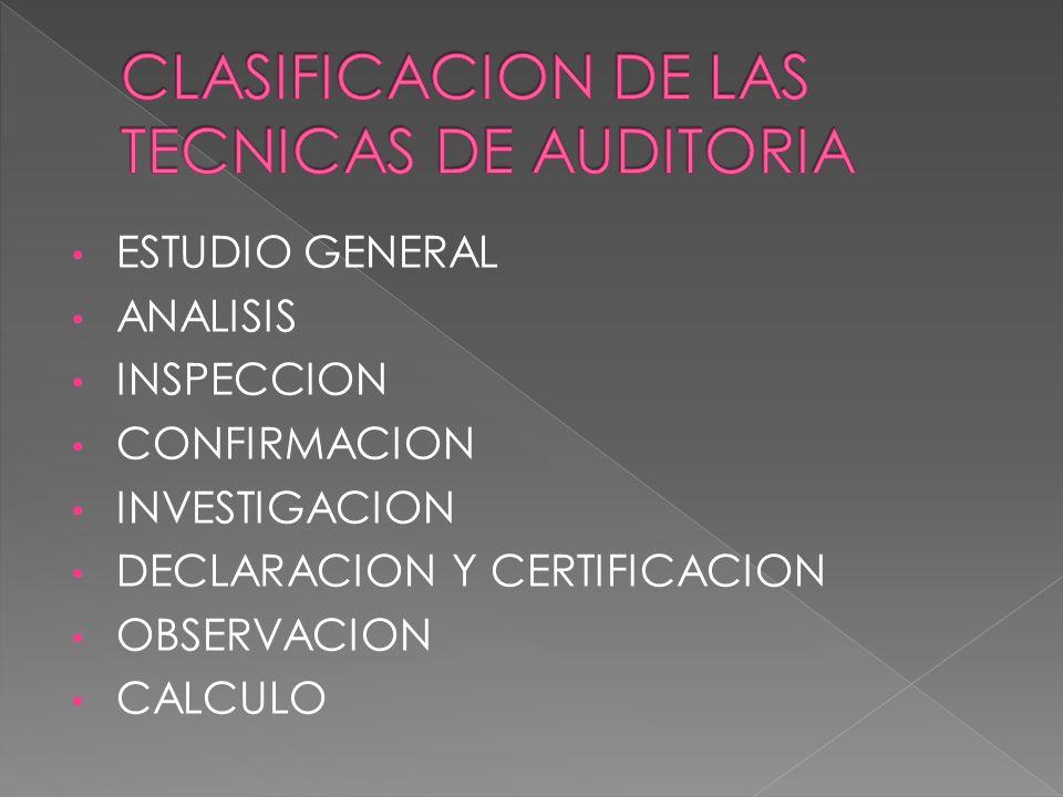 ESTUDIO GENERAL ANALISIS INSPECCION CONFIRMACION INVESTIGACION DECLARACION Y CERTIFICACION OBSERVACION CALCULO