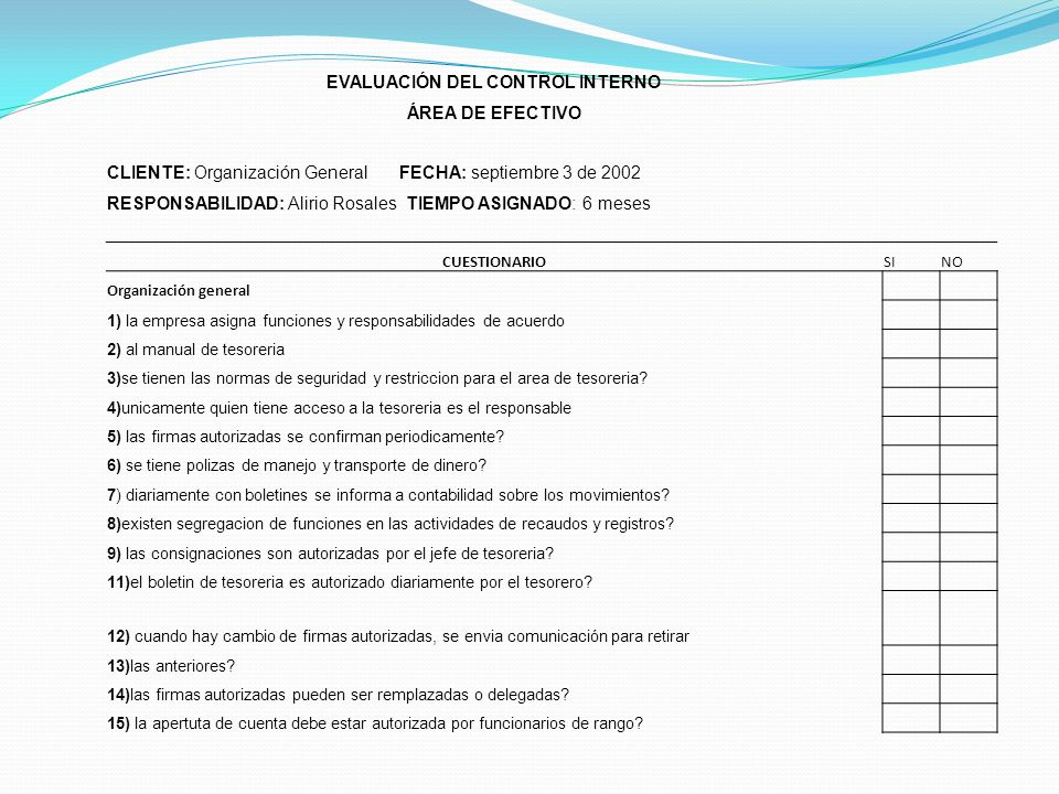 EVALUACIÓN DEL CONTROL INTERNO ÁREA DE EFECTIVO CLIENTE: Organización General FECHA: septiembre 3 de 2002 RESPONSABILIDAD: Alirio Rosales TIEMPO ASIGN