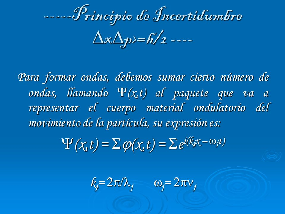-----Principio de Incertidumbre x p>=h/2 ---- Para formar ondas, debemos sumar cierto número de ondas, llamando (x,t) al paquete que va a representar
