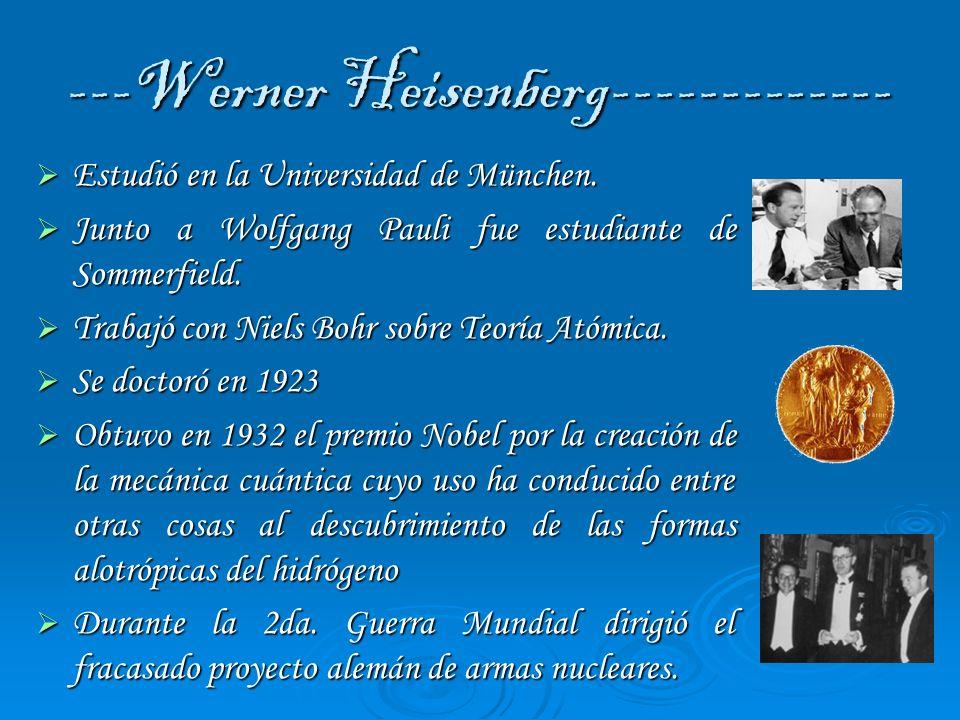 ---Werner Heisenberg------------- Estudió en la Universidad de München. Estudió en la Universidad de München. Junto a Wolfgang Pauli fue estudiante de