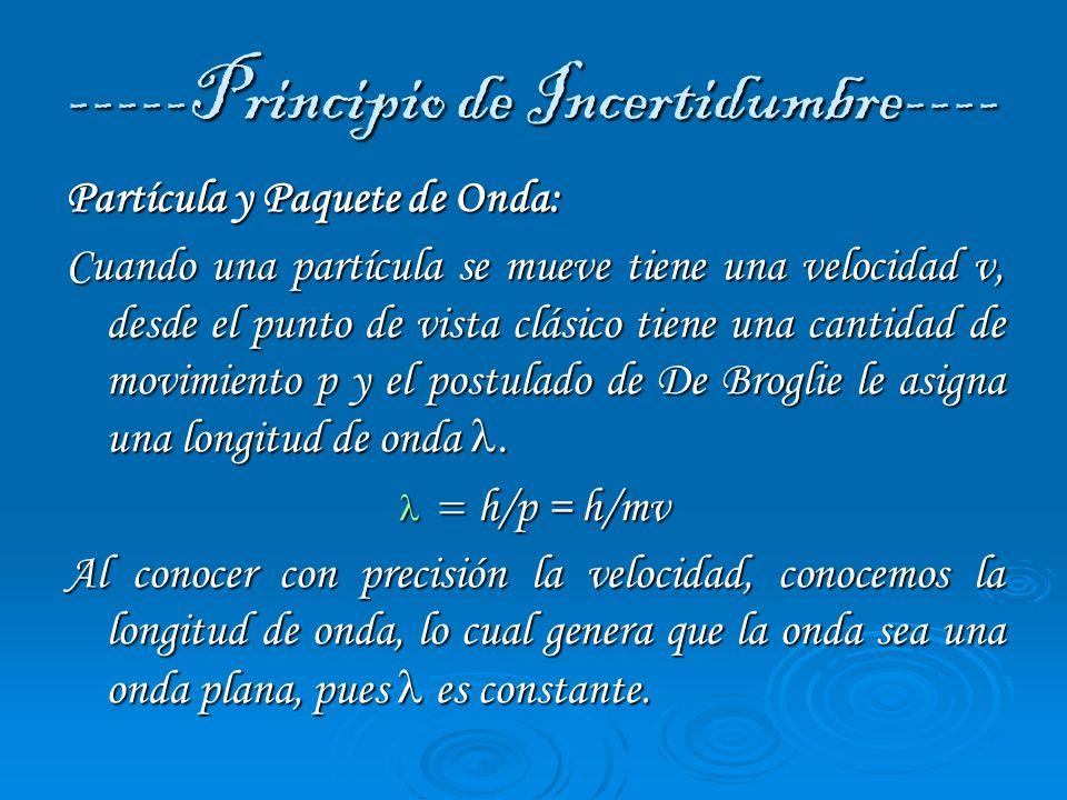 ----- Partícula y Paquete de Onda------ Si el movimiento puede ser descrito por una perturbación que ocupa todo el espacio, no se tendrá claridad sobre la ubicación de la partícula, pues esta distribuida en toda la onda y su incertidumbre será total.