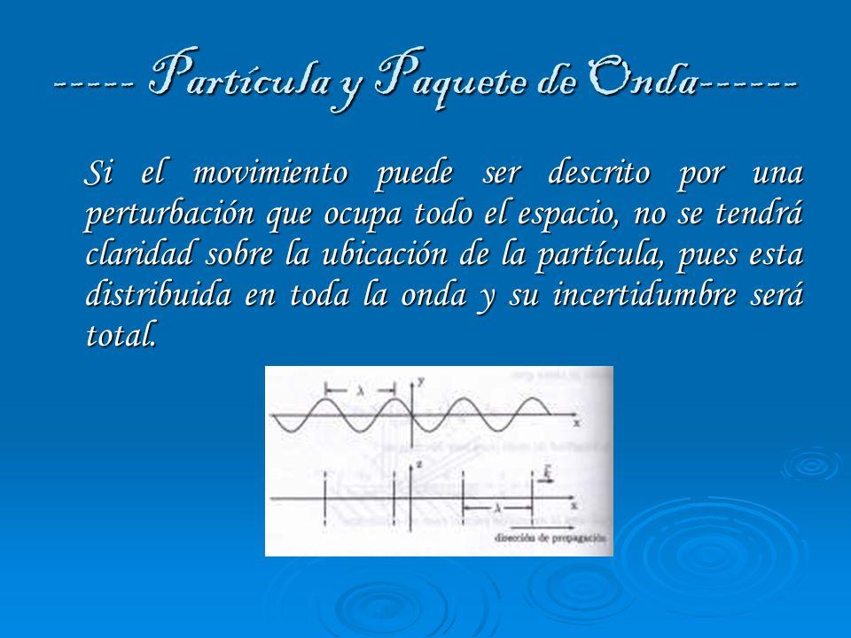 ----- Partícula y Paquete de Onda------ Una forma para reducir la extensión espacial del movimiento ondulatorio que describe una partícula es por medio de la superposición, lo que tenemos que al superponer varias ondas, con diferentes longitudes de onda, tendremos un paquete de ondas.