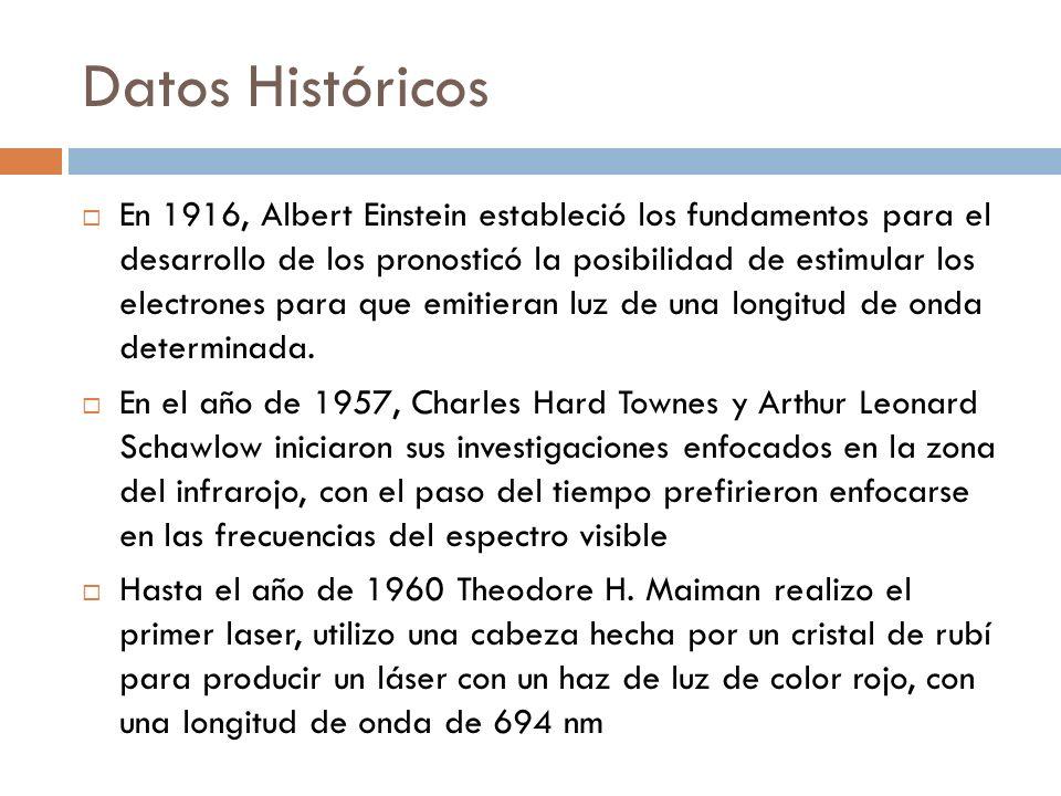 Datos Históricos En 1916, Albert Einstein estableció los fundamentos para el desarrollo de los pronosticó la posibilidad de estimular los electrones p