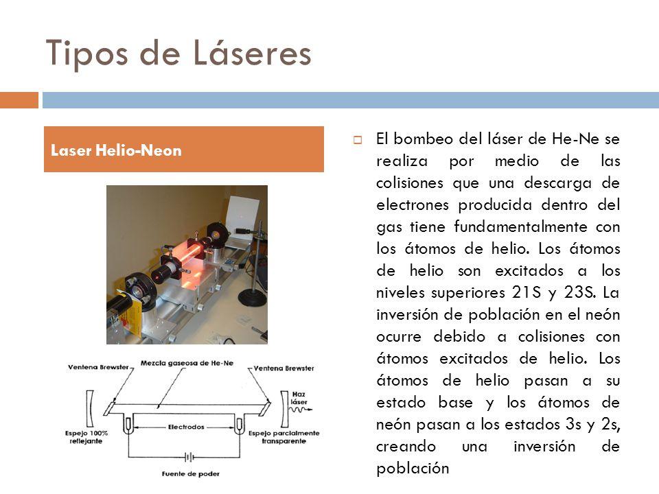 Tipos de Láseres El bombeo del láser de He-Ne se realiza por medio de las colisiones que una descarga de electrones producida dentro del gas tiene fun
