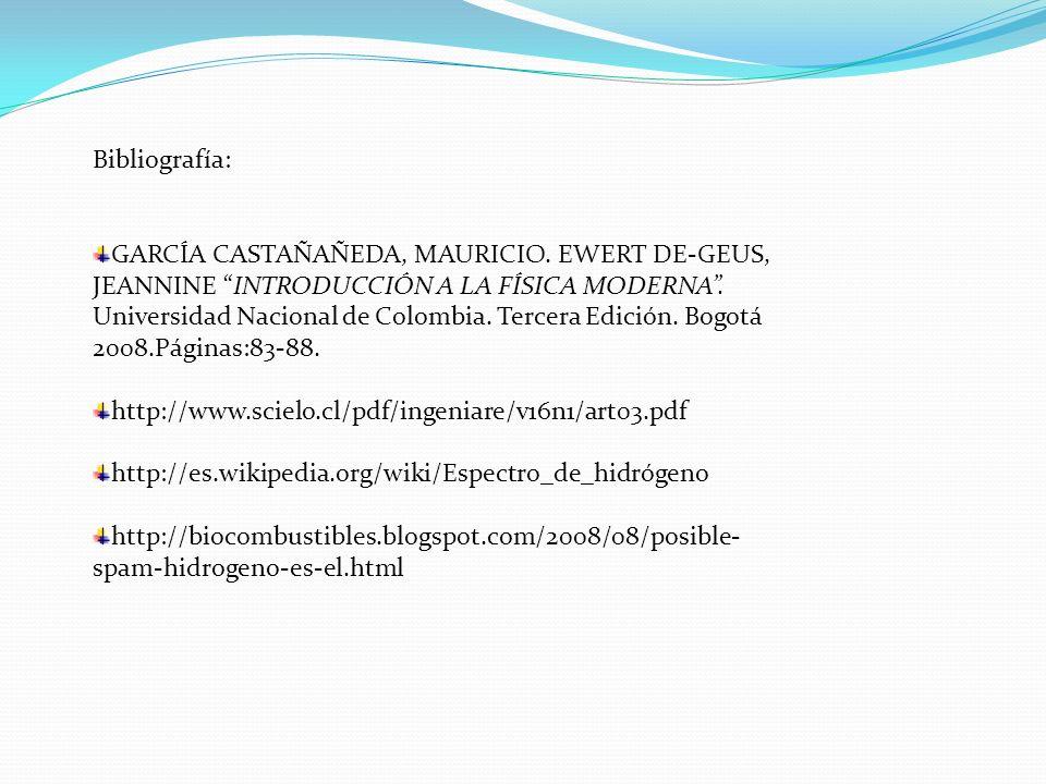 Bibliografía: GARCÍA CASTAÑAÑEDA, MAURICIO. EWERT DE-GEUS, JEANNINE INTRODUCCIÓN A LA FÍSICA MODERNA. Universidad Nacional de Colombia. Tercera Edició