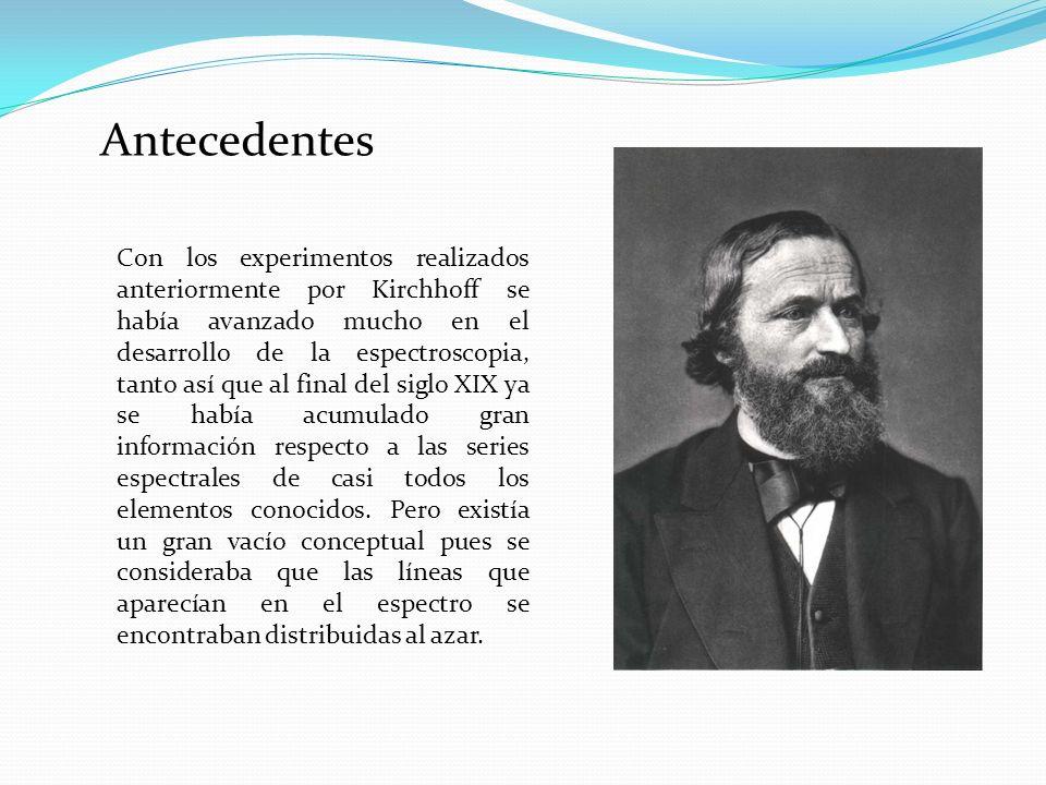 Antecedentes Con los experimentos realizados anteriormente por Kirchhoff se había avanzado mucho en el desarrollo de la espectroscopia, tanto así que