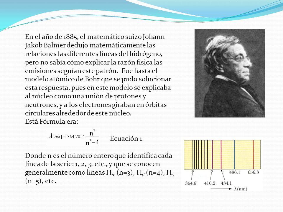 En el año de 1885, el matemático suizo Johann Jakob Balmer dedujo matemáticamente las relaciones las diferentes líneas del hidrógeno, pero no sabía có