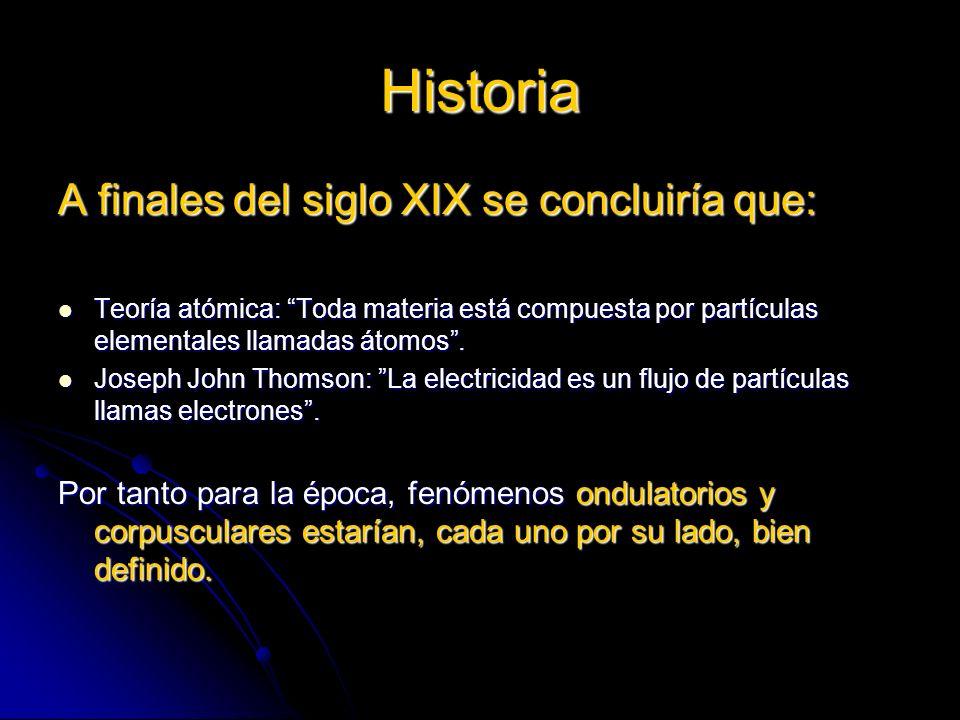 Historia A finales del siglo XIX se concluiría que: Teoría atómica: Toda materia está compuesta por partículas elementales llamadas átomos. Teoría ató