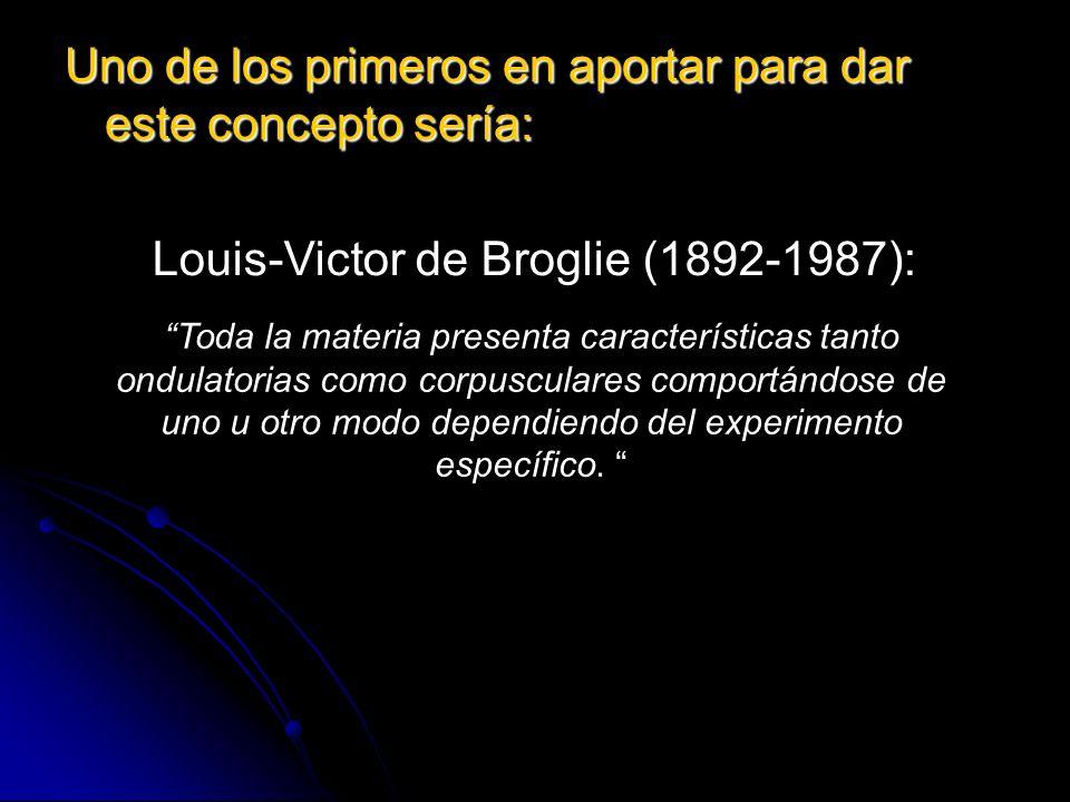 Uno de los primeros en aportar para dar este concepto sería: Louis-Victor de Broglie (1892-1987): Toda la materia presenta características tanto ondul