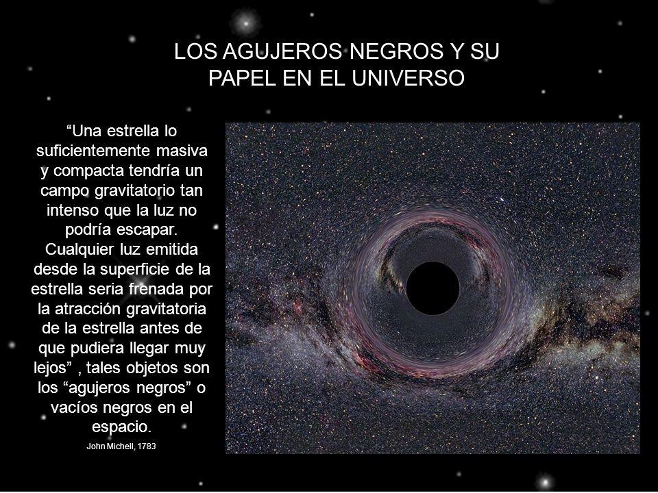 LOS AGUJEROS NEGROS Y SU PAPEL EN EL UNIVERSO Una estrella lo suficientemente masiva y compacta tendría un campo gravitatorio tan intenso que la luz n