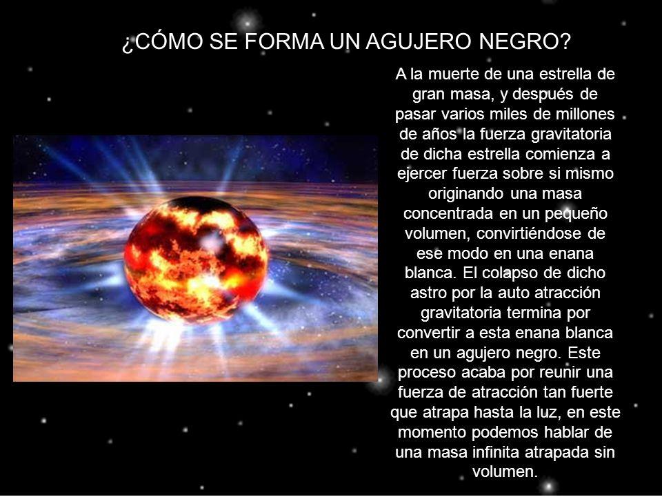 LA FUERZA DEL CAMPO GRAVITATORIO Un objeto sometido a una compresión mayor que la de las estrellas de neutrones tendría un campo gravitatorio tan intenso, que cualquier cosa que se aproximara a él quedaría atrapada y no podría volver a salir.