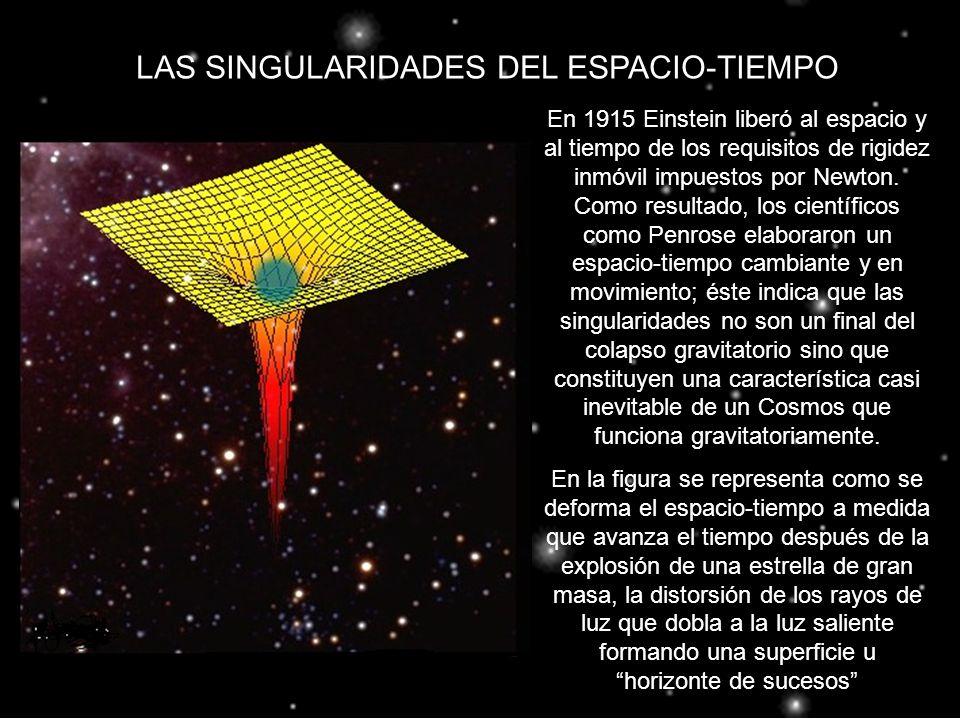 LAS SINGULARIDADES DEL ESPACIO-TIEMPO En 1915 Einstein liberó al espacio y al tiempo de los requisitos de rigidez inmóvil impuestos por Newton. Como r