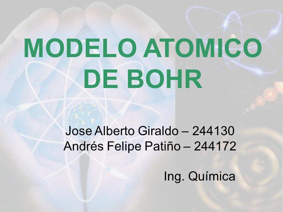 MODELO ATOMICO DE BOHR Jose Alberto Giraldo – 244130 Andrés Felipe Patiño – 244172 Ing. Química