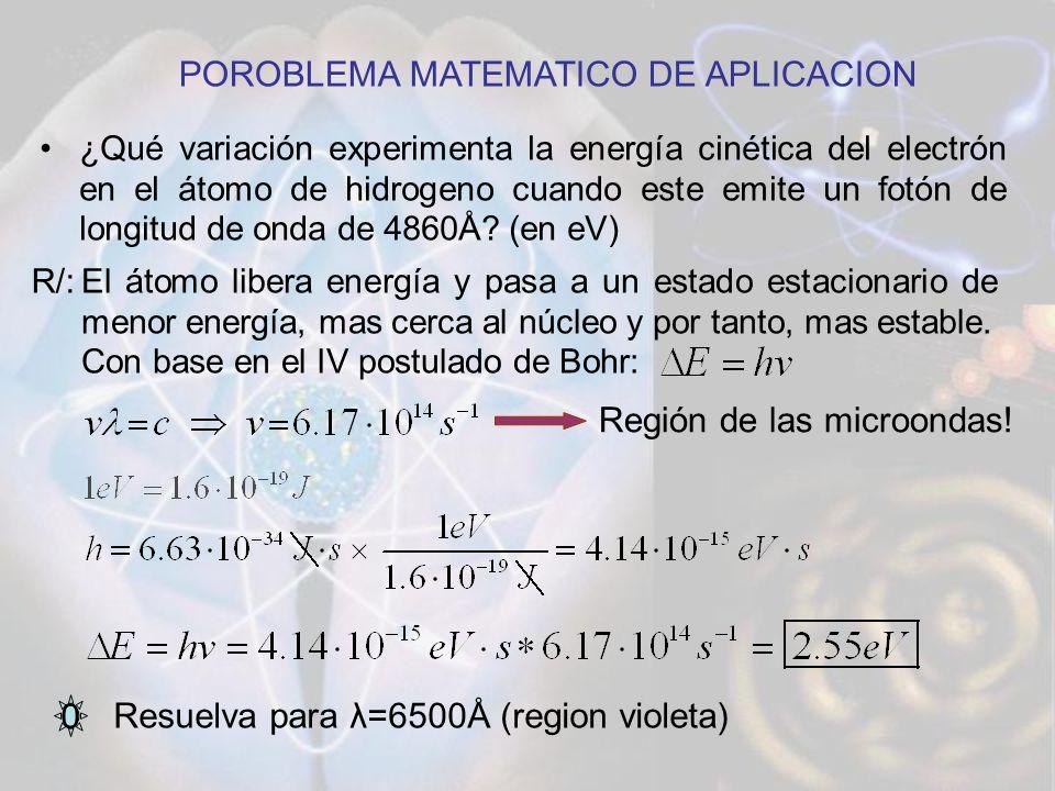 ¿Qué variación experimenta la energía cinética del electrón en el átomo de hidrogeno cuando este emite un fotón de longitud de onda de 4860Å? (en eV)