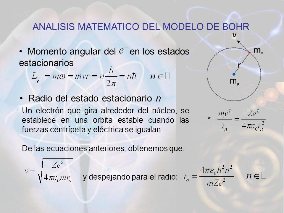 Energía absorbida o emitida cuando un cambia de estado estacionario Energía del estado estacionario n (n=cualquier nivel): ANALISIS MATEMATICO DEL MODELO DE BOHR La energía total de un electrón es la suma de su energía cinética y su energía potencial: Reemplazando en esta ecuación las expresiones de velocidad y radio: