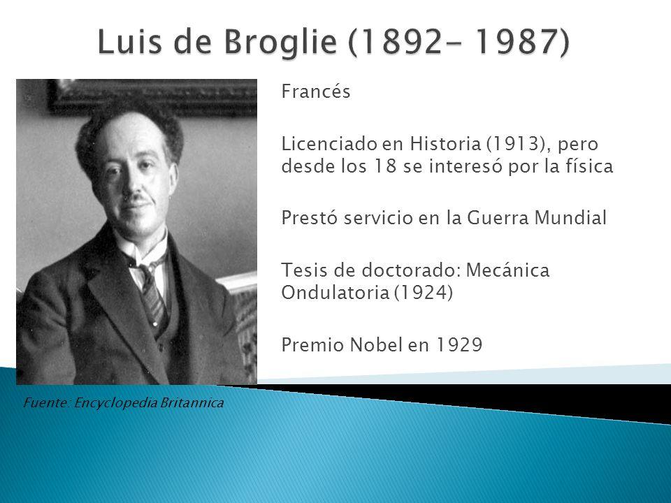 Francés Licenciado en Historia (1913), pero desde los 18 se interesó por la física Prestó servicio en la Guerra Mundial Tesis de doctorado: Mecánica O