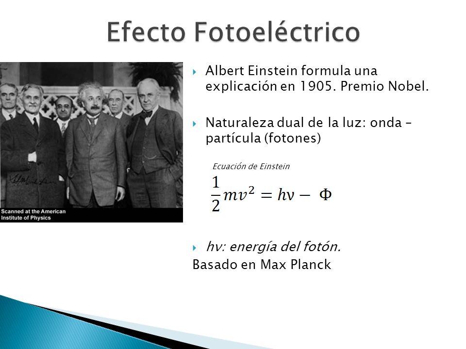 Albert Einstein formula una explicación en 1905. Premio Nobel. Naturaleza dual de la luz: onda – partícula (fotones) hν: energía del fotón. Basado en