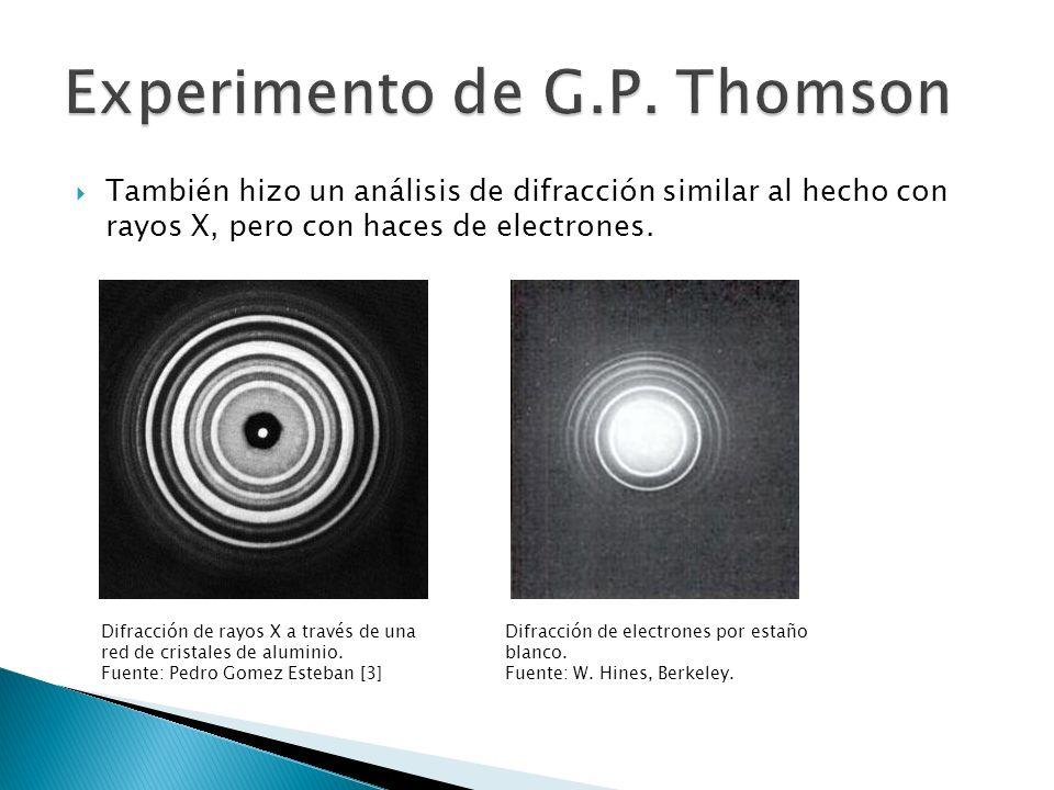 También hizo un análisis de difracción similar al hecho con rayos X, pero con haces de electrones. Difracción de rayos X a través de una red de crista